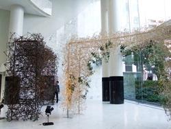 Школа икебаны привлекает публику для постройки гигантской композиции из хаси