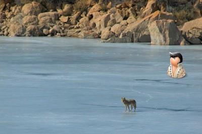 На льду замёрзшего озера
