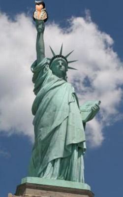 На факеле Статуи Свободы