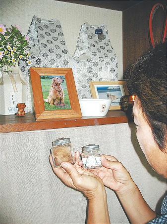 Ёнэко Танака перед фотографией своего ретривера, умершего прошлой весной
