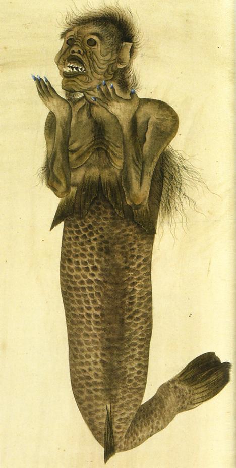 Одно из изображений русалки, принадлежащее Бломхофу. Конец эпохи Эдо, автор неизвестен