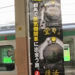 Рекламное объявление, призывающее приехать в Гумму полюбоваться старинными поездами