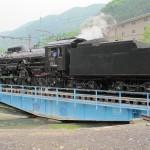 C61-20 разворачивается на поворотному кругу. Станция JR Минаками, 5-е июня 2011 г.