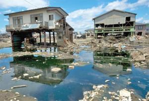 Разрушенные дома в префектуре Мияги