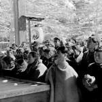 Жители Хираидзуми собрались перед храмом Тюсон-дзи в ожидании объявления результатов изучения останков покойных лидеров семейства северных Фудзивара. Март 1950 г.