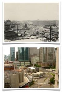 """Два снимка, сделанных с террасы отеля """"Маруноути"""". Верхний датируется 1923 г., нижний был сделан в прошлом месяце этого года"""