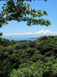 С вершины Окиригиси виден остров Эносима, а за ним вдалеке в облаках скрывается Фудзисан