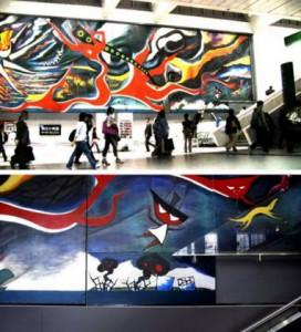 Фрагмент, добавленный участниками «ChimPom» к росписи стены, сделанной Таро Окамото