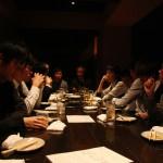 А вечером празднование переместилось в рестораны, по лабораториям обычно. В дальнем конце стола справа виден профессор, зав. лаб. мужа