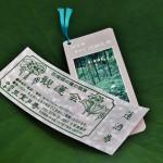 Билетик (сверху) и памятный сувенир - закладка для книг с фотографией парка храма