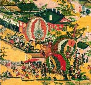 Процессия участников фестиваля Гион Мацури, фрагмент относящейся к культурному достоянию Японии ширмы «Виды столицы и ее окрестностей» (XVII век, экземпляр «Фунаки», автор Иваса Матабэй)