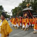 Один из двух паланкинов, в которых несут божества, охраняющие Киото: духи императоров Камму и Комэй, самого первого и самого последнего, постоянно живших в Киото