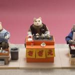 """Автор - Умэвака Норихиро 梅若盛弘. Название - """"Утренний рынок"""". Котики продают всякую снедь, которой можно позавтракать"""