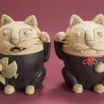 """Автор - Гако GACO. Название - """"Нэко-сиса (нэкодза)"""". Коты по мотивам традиционных окинавских собако-львов """"сиса"""", охраняющих дома от несчастий. Как и кома-ину, обычно парные"""