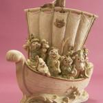 """Автор - Наканэ Сэйдзи 中根征二. Название - """"Корабль сокровищ"""". Еще одна вариация на тему семи счастливых кото-богов, везущих счастье и удачу на волшебном корабле"""