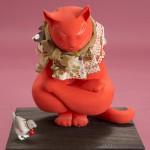 """Автор - Мадзэ Сэцуко 馬瀬せつ子. Название - """"Сила удачи"""". Кот сидит в заковыристой позе, демонстрируя силу. Удача от нас не уйдет!"""