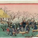 """Наслаждаясь погожим днём под сливовыми деревьями храма Камэйдо Тэндзин"", Хиросигэ"