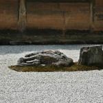 Стена, окружающая Сад камней с трех сторон, также является частью пейзажа и влияет на восприятие. Высота стен немного понижается к углу сада. За счет этого видимая перспектива удлиняется и сад кажется больше, чем он есть на самом деле. Сама стена глинобитная и когда-то была светло-бежевой. Время раскрасило ее, дополнив почти монохромный пейзаж