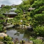 Сад разделен на две части вокруг прудов. Это ближняя к основному зданию, Фуё-ти 芙蓉池. По названию цветка фуё - разновидности гибискусов