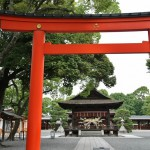Центральные тории храма Дзёнан-гу. А на очень заднем плане за сценой в центре просматривается травяное кольцо Ти-но-ва, установленное специально для проведения обряда самоочищения