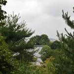 Вид на храм сквозь деревья на холме